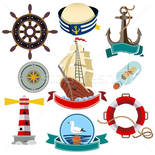 морской иконки икона морем знак компас Сток-фото © artisticco