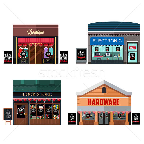 Different Stores with Black Friday Sale Signs Stock photo © artisticco