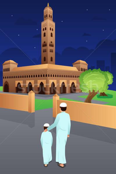 отцом сына мечети человека ребенка Kid отец Сток-фото © artisticco