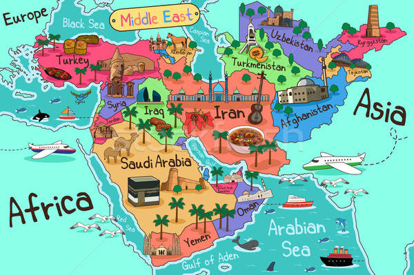 Middle East Countries Map in Cartoon Style Stock photo © artisticco