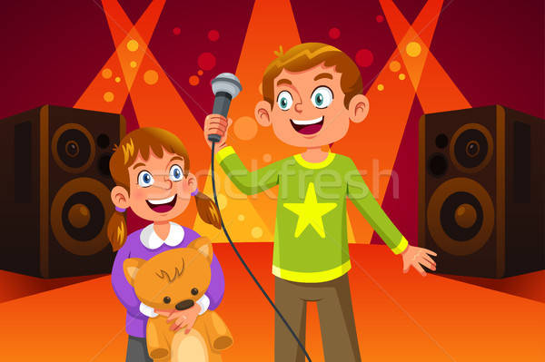 Happy Children Singing Illustration Stock photo © artisticco