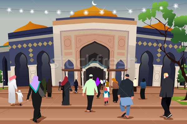 мечети молятся иллюстрация семьи детей молитвы Сток-фото © artisticco