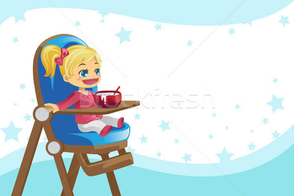 Child eating in high chair Stock photo © artisticco