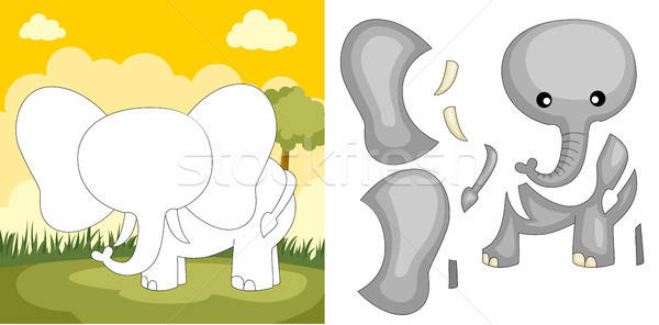 Olifant puzzel kinderen spel cartoon illustratie Stockfoto © artisticco