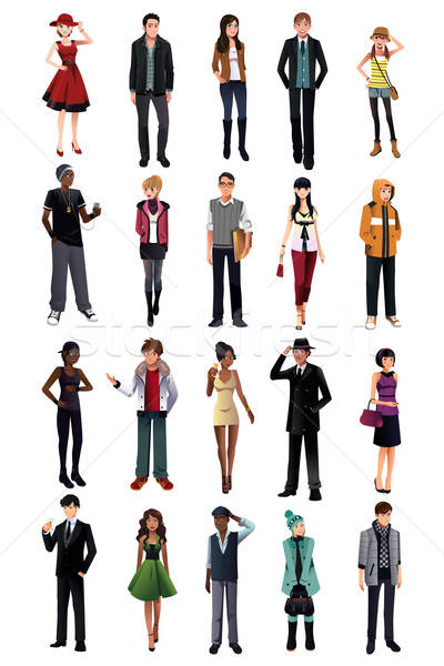 Stock photo: Stylish young people from different ethnicity