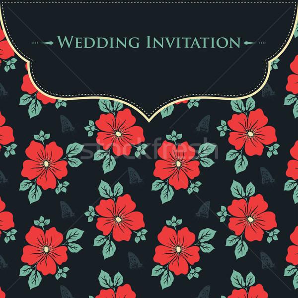 結婚式招待状 デザイン 背景 パターン 図面 招待 ストックフォト © artisticco