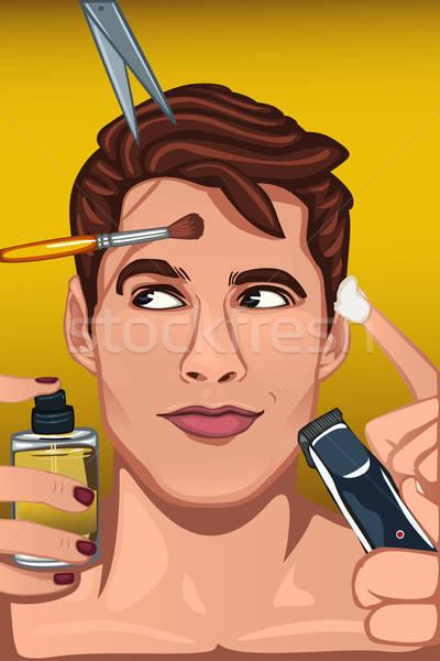 Férfi jelentkezik különböző szépségipari termékek arc haj Stock fotó © artisticco