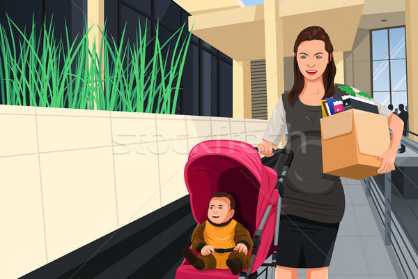 Pregnant woman leaving her job to take care of her baby Stock photo © artisticco