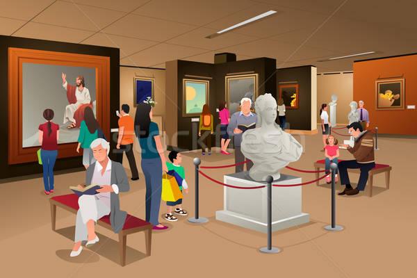 Personnes à l'intérieur musée art femme enfants Photo stock © artisticco
