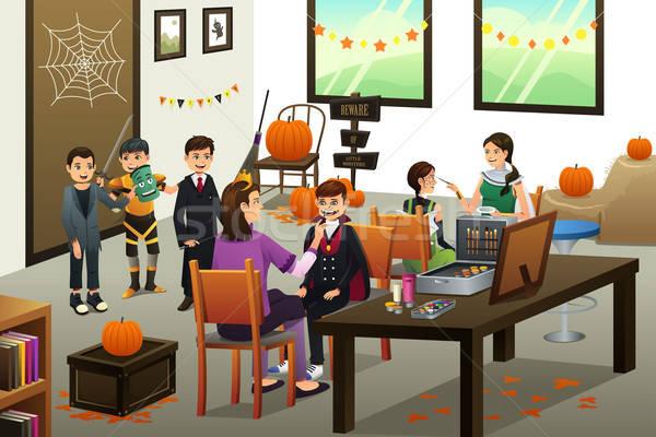 çocuklar Yukarı Yüz Boyama Halloween Mutlu Vektör