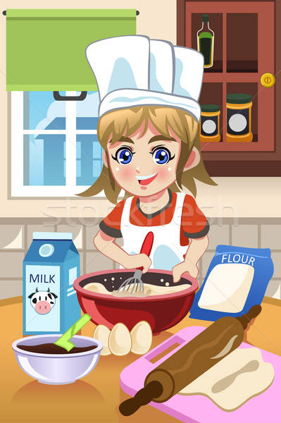 Girl Baking in the Kitchen Stock photo © artisticco