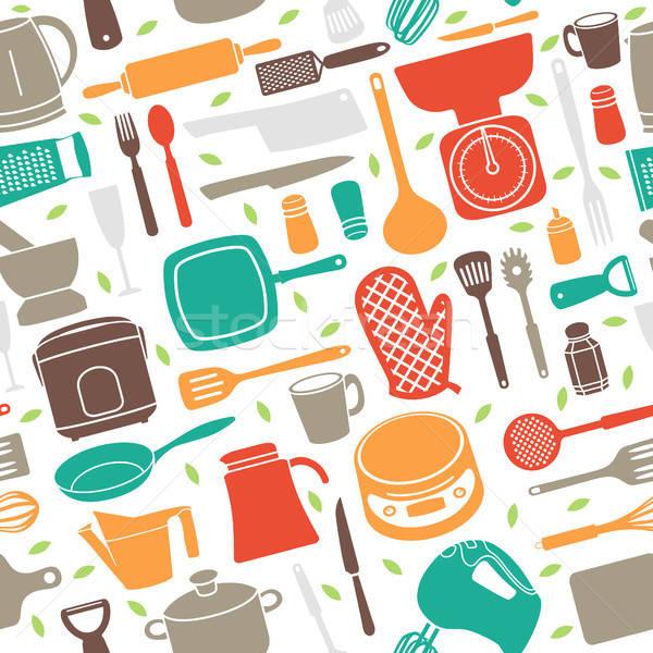 Végtelen minta konyhai eszköz retró stílus kés tapéta csésze Stock fotó © artisticco