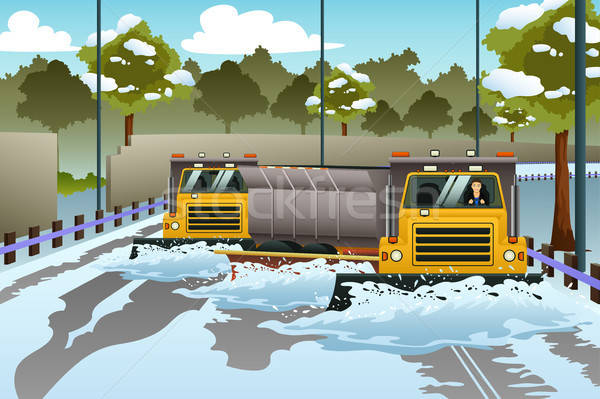 Snow Plow Trucks Clearing The Road From Snow Stock photo © artisticco