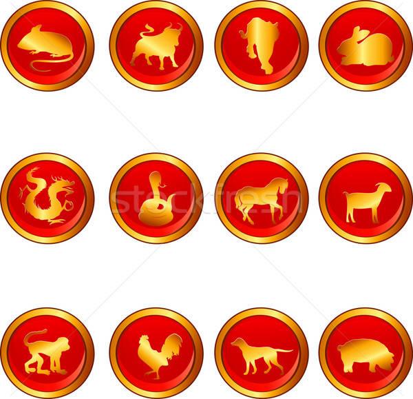 Kínai asztrológia feliratok kutya háttér tyúk Stock fotó © artisticco