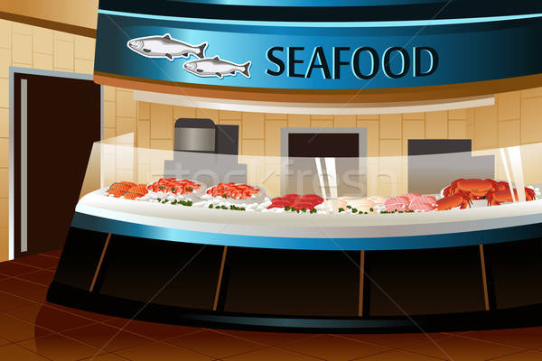 Grocery store: seafood section Stock photo © artisticco
