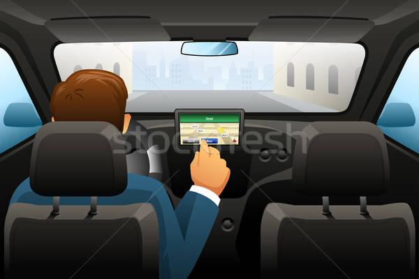 Jazdy człowiek GPS odnaleźć lokalizacja drogowego Zdjęcia stock © artisticco