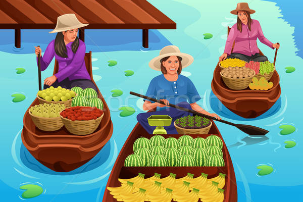 Woman Selling Fruit in a Traditional Floating Market Stock photo © artisticco