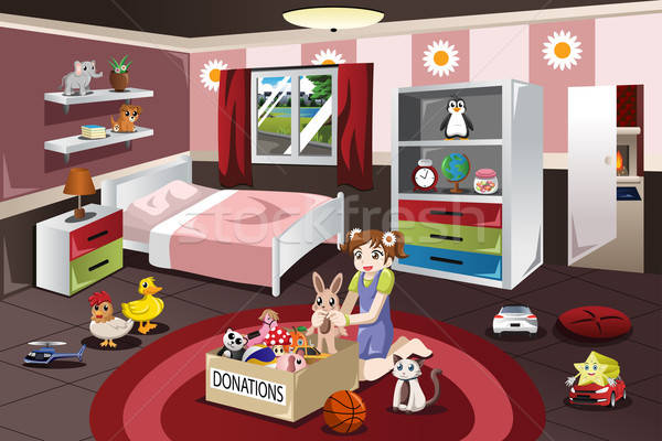 Girl Donating Her old Toys Stock photo © artisticco