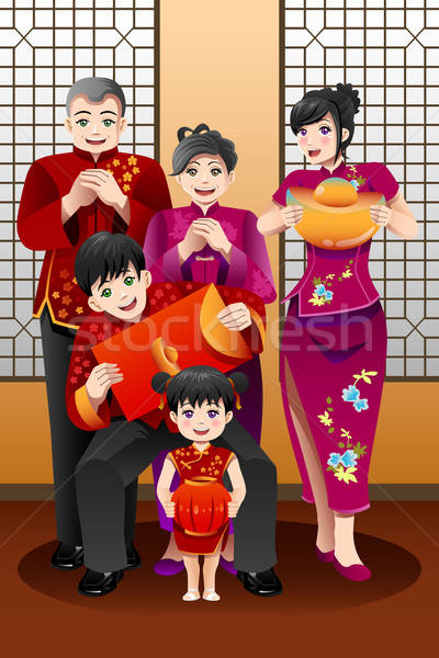 Family Celebrating Chinese New Year Stock photo © artisticco