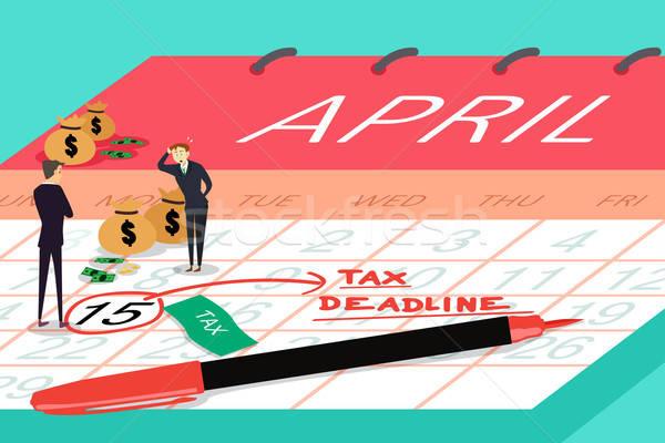 Adó határidő üzletemberek áll felső naptár Stock fotó © artisticco