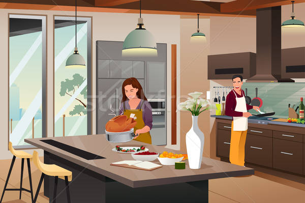 Couple Preparing For Thanksgiving Dinner in the Kitchen Stock photo © artisticco