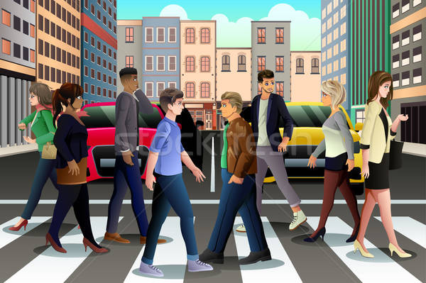 City People Crossing the Street During Rush Hour Stock photo © artisticco