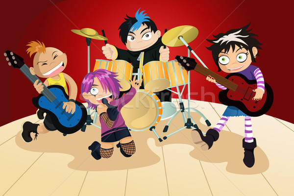 Rock band of four little kids Stock photo © artisticco