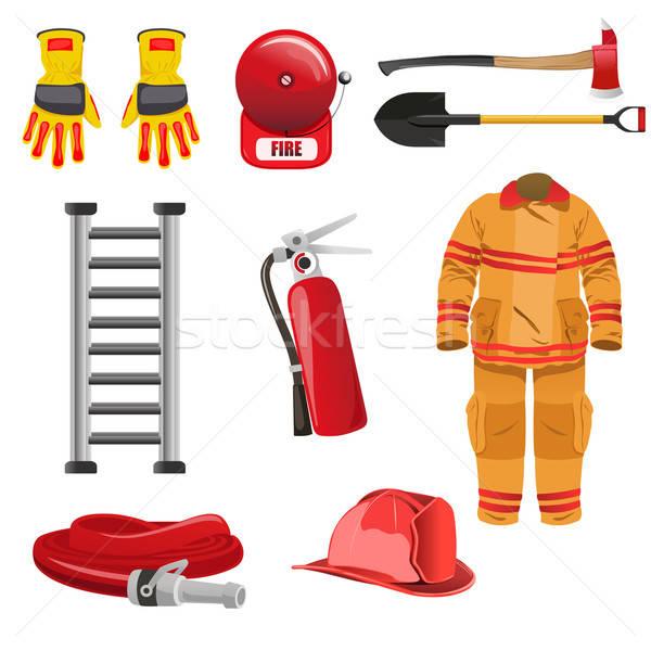 Strażacy ikona rysunek kask drabiny łopata Zdjęcia stock © artisticco