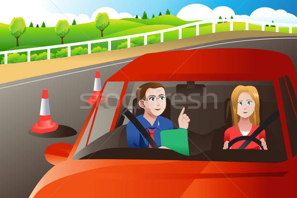 Tiener weg rijden test volwassen vrouw Stockfoto © artisticco