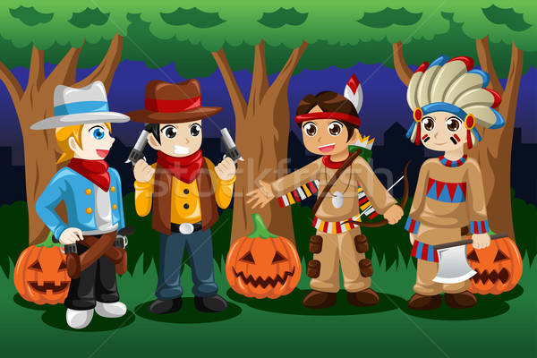 Boys dressed up as cowboys and Native Americans Stock photo © artisticco