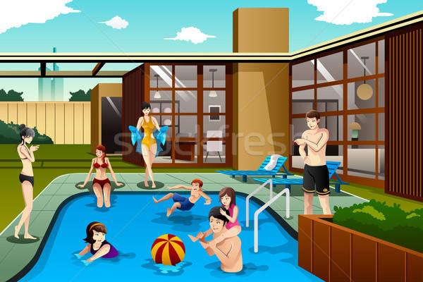 Család barátok idő udvar úszómedence ház Stock fotó © artisticco