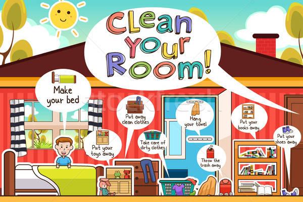 Kinderen schoonmaken kamer kind Stockfoto © artisticco
