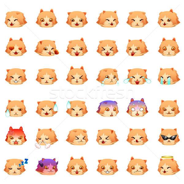 Perzische kat emoticon kat tekening cartoon moderne Stockfoto © artisticco
