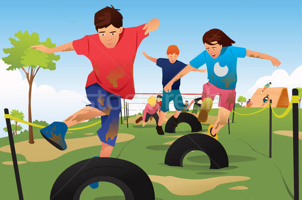 Kids Competing in a Obstacle Running Course Competition Stock photo © artisticco