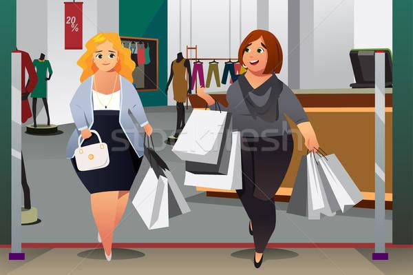 Vrouwen illustratie meisje mode winkelen Stockfoto © artisticco
