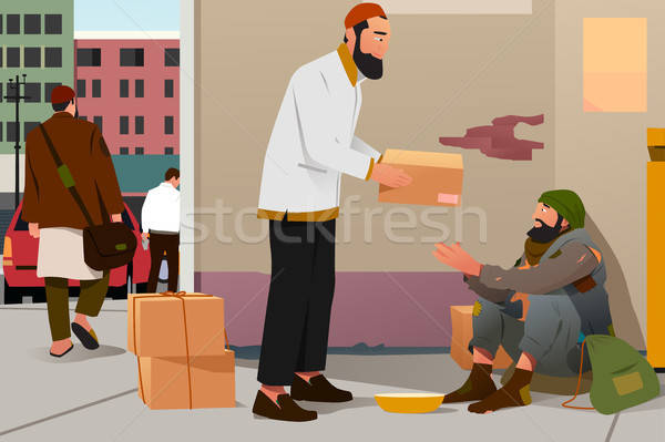 Muslim Man Giving Donation to a Poor Homeless Man Stock photo © artisticco