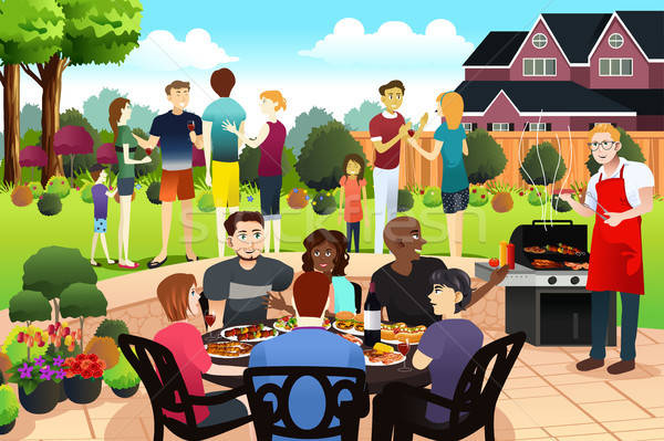 Friends and Family Gather Together Having BBQ Party in the Summe Stock photo © artisticco