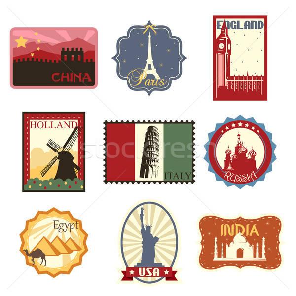Voyage étiquettes badges monde célèbre dessin Photo stock © artisticco