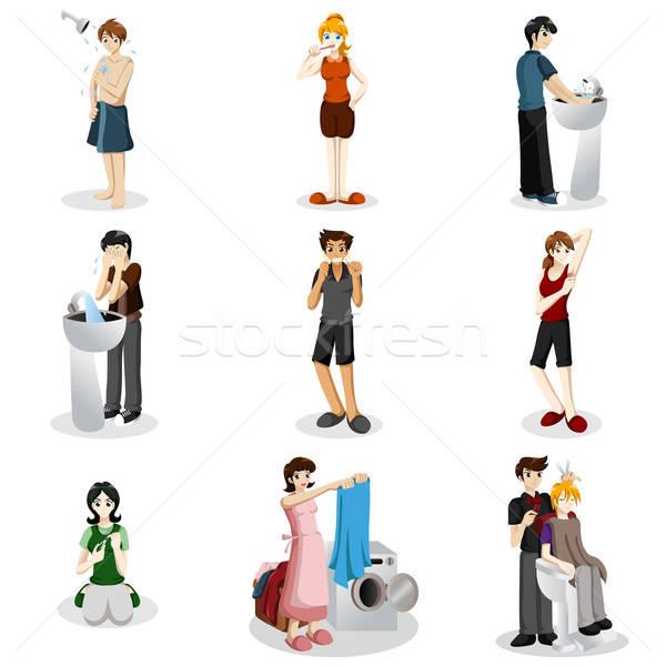 Hygiënisch mensen oefenen goede hygiëne vrouw Stockfoto © artisticco