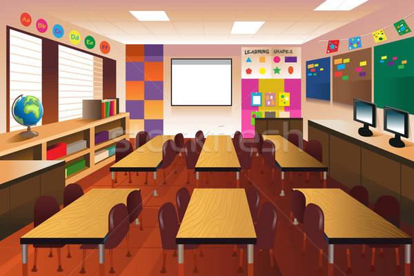 Modern Classroom Setup ~ Vazio · sala de aula escola primária interior