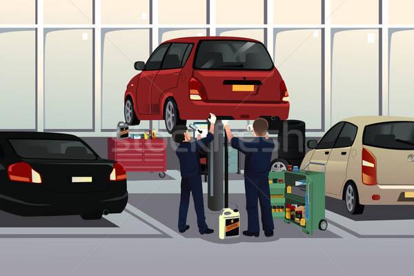 Automechaniker Festsetzung Auto auto Reparatur Garage Stock foto © artisticco