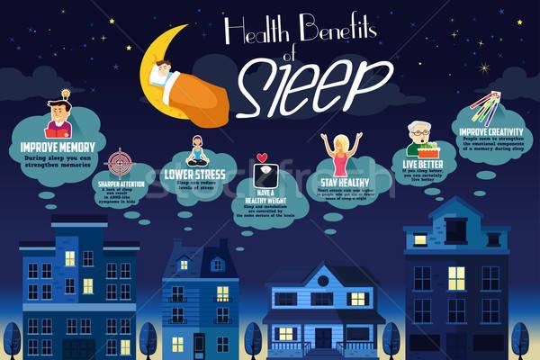 Egészség előnyök alszik infografika éjszaka álom Stock fotó © artisticco