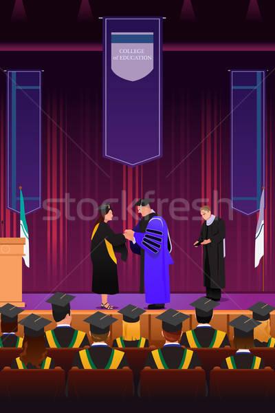 Afstuderen meisje podium vrouw onderwijs Stockfoto © artisticco