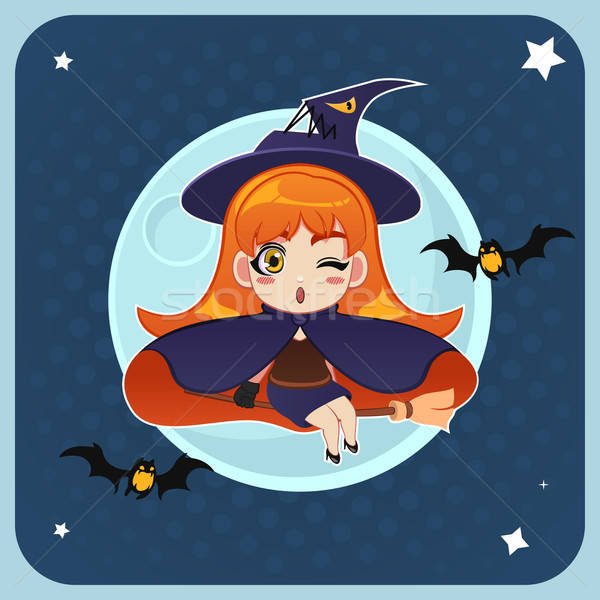 Witch Flying in Front of the Full Moon with Magical Broom Stock photo © artisticco
