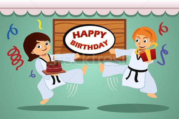 çocuklar doğum günü partisi afiş taekwondo spor arka plan Stok fotoğraf © artisticco