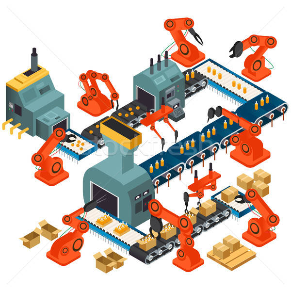 Isometric Design of Automated Processing Plant Stock photo © artisticco