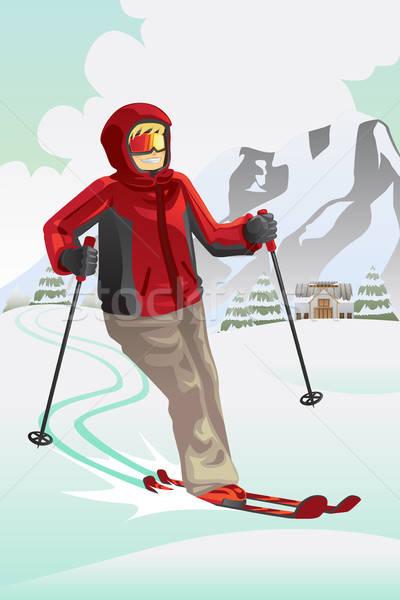 Esquiador montanha esqui homem fitness neve Foto stock © artisticco