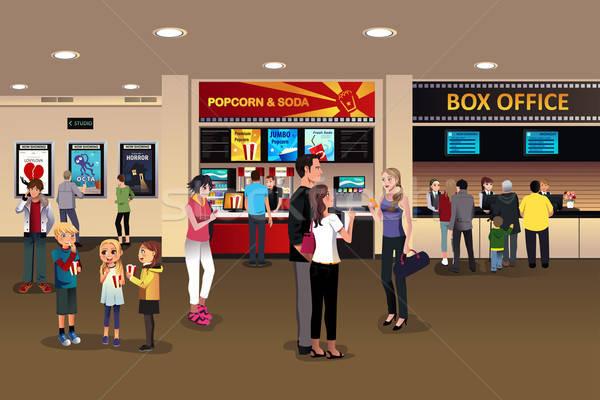Scena film teatr lobby rodziny dzieci Zdjęcia stock © artisticco