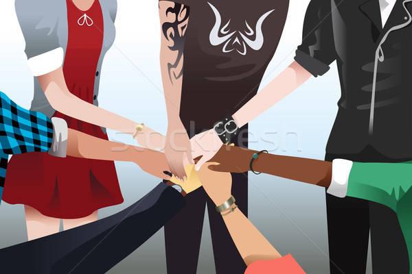 手 触れる 一緒に チームワーク チーム ストックフォト © artisticco