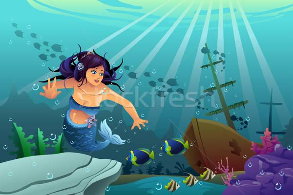 Subacquea scena sirena sink nave nuoto Foto d'archivio © artisticco